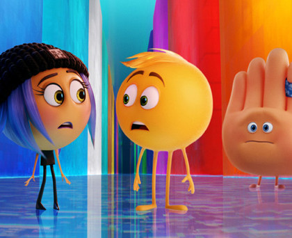 Jailbreak (Anna Faris), Gene (T.J. Miller) and Hi-5 (James Corden) in Columbia Pictures and Sony Pictures Animation's THE EMOJI MOVIE.