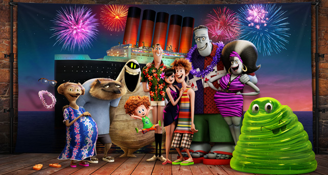 The whole Drac pack is back next summer for a monster vacation as Griffin the invisible man (David Spade),  Wanda (Molly Shannon) & Wayne (Steve Buscemi) the werewolves, Murray the mummy (Keegan-Michael Key), Dennis (Asher Blinkoff), Dracula (Adam Sandler), Mavis (Selena Gomez) & Johnny (Andy Samberg), Frank (Kevin James) & Eunice (Fran Drescher), and Blobby get ready for a family voyage on a luxury monster cruise ship.