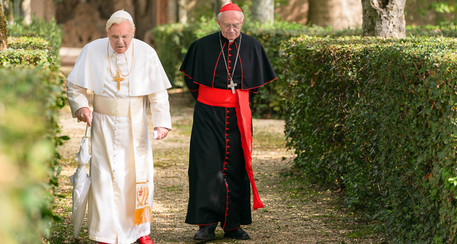 Anthony Hopkins and Jonathan Pryce offer an acting masterclass in this film about the meetings in Rome of Pope Benedict and the future Pope Francis.